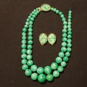 Vintage Jomaz faux Jade necklace and clip earrings